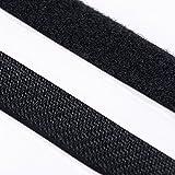 KAHAGE - BUTONIA 5m Klettband Haken+Flausch, hochwertig, selbstklebend 25mm schwarz