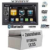 Hyundai ix35 - Autoradio Radio Xzent X-202BT MkII | 2-Din Bluetooth DVD CD USB HDMI Touch Bildschirm PKW - Einbauzubehör - Einbauset
