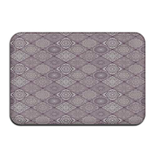 Nacasu Memory Foam Bath Mat Non Slip Absorbent Super Cozy Plush Bathroom Rug Carpet,Old Fashioned Ethnic Design with Square Frames and Vintage Henna Art Motifs,Decor Door Mat 23.6 X 15.7 Inches Square Double Old Fashioned