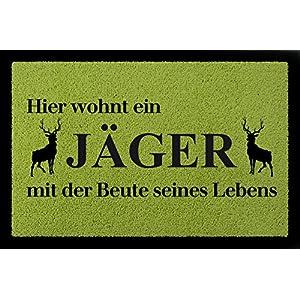 SCHMUTZMATTE Fußmatte HIER WOHNT EIN JÄGER Hobby Geschenk Dekomatte Jagen  Spruch Grün