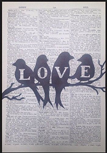VINTAGE LOVE BIRDS ANTIQUE 1933 DICTIONARY PAGE PICTURE PRINT ART shabby chic by Parksmoonprints - Antique Pictures Bird