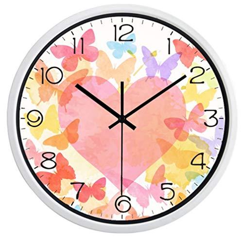 Wanduhr Metall Glas Runde Klassische Moderne Herz Blume Wanduhr Glas Gesicht Metall Retro schön alle Spiel Uhr für Mädchen Zimmer, Wohnzimmer Schlafzimmer(12inch)