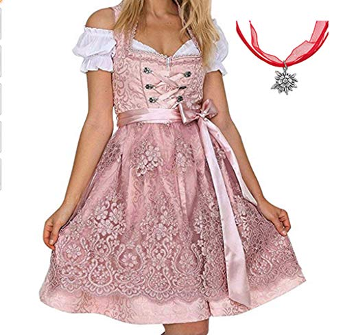 Kostüm Kleid Rosa - Jodimitty Tracht Kleid Damen Dirndl für Oktoberfest Traditionall Kostüme Kurzarm Mini Baumwolle 3 TLG Trachtenkleid