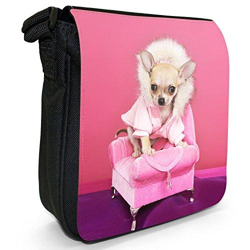 Mexikanischer Chihuahua Taco Bell Hund Kleine Schultertasche aus schwarzem Canvas Cooler Chihuahua sitzt auf Sofa