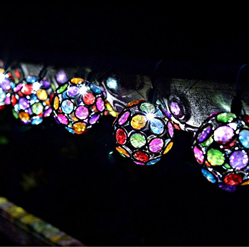 Garten Mile® 10x Multi Glow Gem Ball Solar Lichterkette 4,4m mit LED-Lichtern Wasserdicht Outdoor Lichterkette Solar Powered Globe Fairy Orb Laterne Lichterkette Ambiente Beleuchtung für Garten Yard Home Landschaft Halloween Weihnachten Party Dekoration Light Hohe Qualität