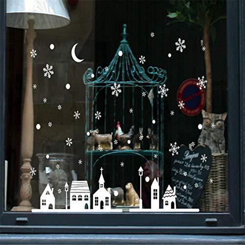 EXQART Vinilo Decorativo Navidad Tienda de Navidad Decoración de Ventana Pegatinas de Pared Feliz Navidad Etiqueta de Copo de Nieve Navidad Copos de Nieve Ciudad