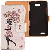 Lankashi PU Flip Funda De Carcasa Cuero Case Cover Piel Para ZTE Grand Memo V9815 N5 Umbrella Girl Design