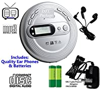 Premium Retro MP3 CD Discman (Portable Compact Personal CD Player) PLL (Digital) FM Radio - CD, CD-R / CD-RW & MP3 CDs (Audio Books with Bookmark Pause) inc Earphones - Up to 100 Second Anti-Skip Protection - Up to 99 Track Memory �?? Large Digital Displa