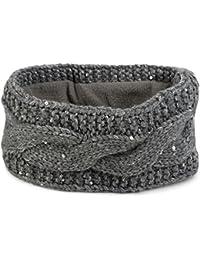 styleBREAKER Stirnband Grobstrick mit Zopfmuster und Pailletten, warmes Fleece Innenfutter, Haarband, Headband, Damen 04026002