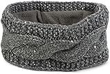 styleBREAKER Stirnband Grobstrick mit Zopfmuster und Pailletten, warmes Fleece Innenfutter, Haarband, Headband, Damen 04026002, Farbe:Grau