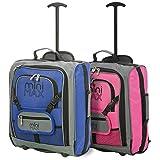 MiniMax Kinderkoffer Kindergepäck Reisekoffer Trolley Handgepäck Rucksack mit Vordertasche für Spielzeugen/ Puppen/ Teddybär (Blau + Rosa)