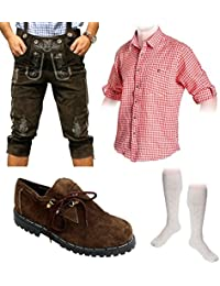 Herren Trachten Set B 5-teilig Trachten Lederhose dunkelbraun 46-60 Trachtenhemd Schuhe Socken