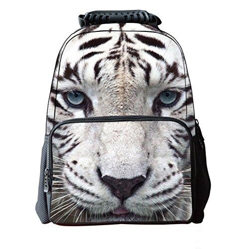 Pixnor Unisex Zaino Scuola Borse 3d animale stampa da viaggio escursionismo Daypacks, White Tiger White Tiger