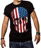 Totenkopf T - Shirt für Herren Amerika USA Flagge Skull