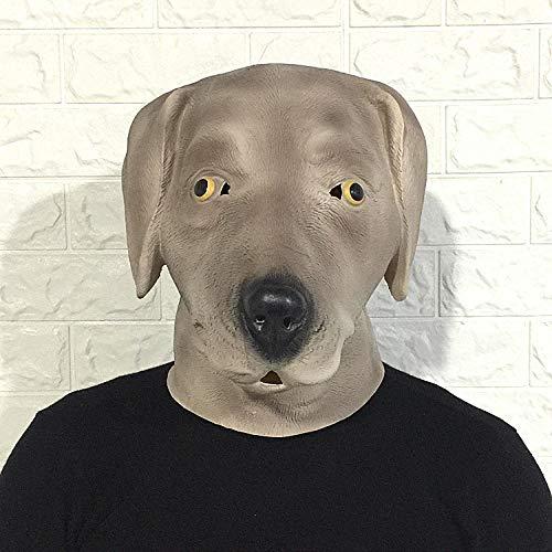 quisiten Labrador Dog Mask Headset Tier Latex Bar Leistung @Grey Labrador Dog ()