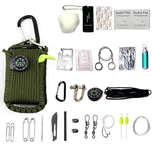 HW Kit De Survie d'urgence, 29 en 1 Ensembles De Premiers Soins De La Grenade Paracord Mini-Sifflet Ensemble De Démarrage du Survival Baits Compass,Green