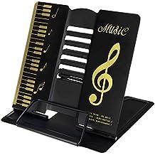 LY - Atril plegable de metal ajustable con dibujos de notas musicales. Para todo tipo de libros., metal, negro, talla única