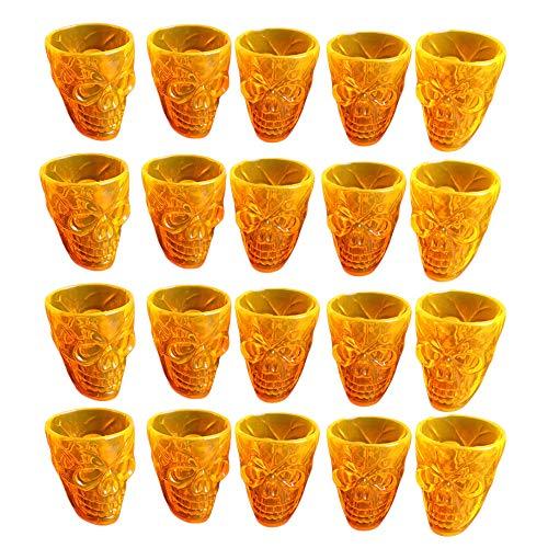 GREENSTORE 20 vasos calavera en 3D, de plástico duradero, 55 ml, para fiesta de Halloween