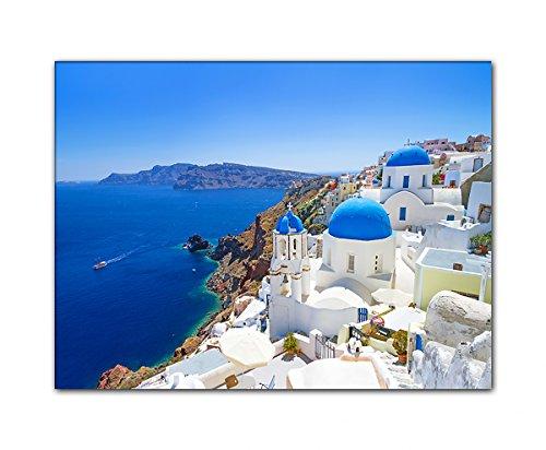 DEINEBILDER24 - Wandbild XXL typische blau weiße Architektur, Griechenland 60 x 80 cm auf Leinwand und Keilrahmen. Beste Qualität, handgefertigt in Deutschland!