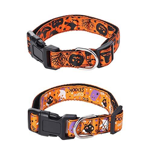 POPETPOP 2 Stück Halloween Festival Pet Halsbänder Einstellbare Nylon Kürbis Lampe Geist Halskette Mit Der Glocke Für Hund