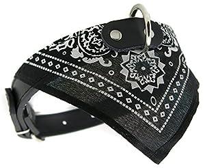 collier cuir bandana foulard chien 42,5cm rock rockabilly pitbull