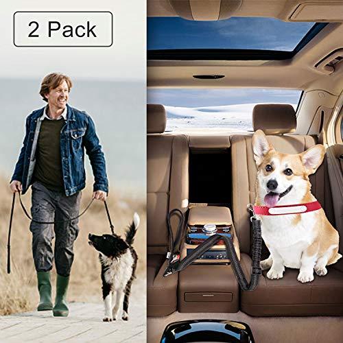 Drivaid Hunde Sicherheitsgurt für Auto, mit Elastischer Rückdämpfung, Auto-Gurt-Adapter, und 2 Schichten Hochdichten Nylongewebe, Autogurt-Adapter für Auto-Rückbank, Extra Lang,110-158cm -