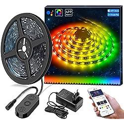 DreamColore Bande LED avec APP, MINGER Ruban LED 3M Musique Étanche 5050 SMD, Synchronisé à la musique, Microphone Intégré et avez IC, Contrôlé par APP, Décoration pour Maison, Cuisine, Soirée, 12V
