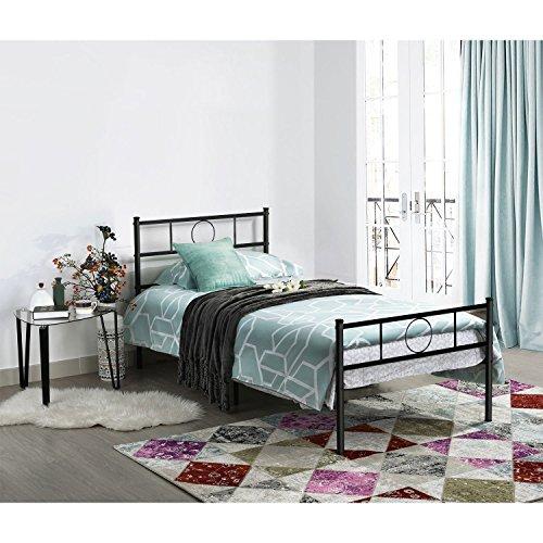 Aingoo Gästebett Einzelbett Single Bett Metallbett Metall Rahmen Bett mit Lattenrost Tagesbett Jugendbett Kinderbett Schwarz (90 x 200 cm)