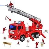 Symiu Feuerwehrauto Feuerwehr Feuerwehrmann mit Wasserpumpe und Licht Fahrzeug LKW Auto Spielzeug Geschenk für Kinder Jungen Mädchen ab 3 4 5 6 Jahre Jungen und Mädchen