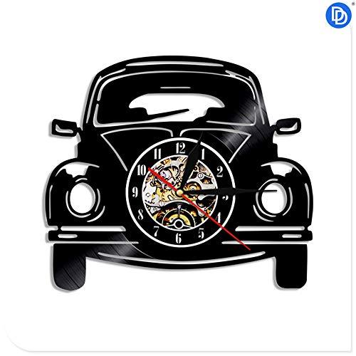 NIGHT BLACK Schwarz schwarz CD Record Clock der Film Transport Auto Design Vinyl 3D Wanduhr Fahrzeug Wandaufkleber Dekoration, 1 großes Geschenk für Geburtstag, Jubiläum oder eine andere Gelegenheit -