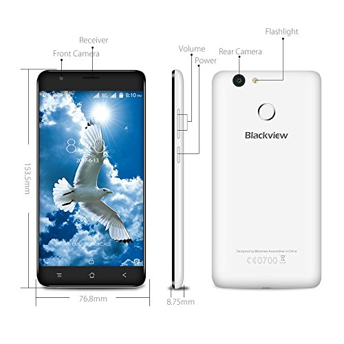 "Móviles Baratos Blackview E7s Android 7.0 Dual SIM Smartphone Con 5.5"" HD IPS 2.5D Pantalla de Arco - MT6580A Quad Core 1.3GHz - 2 GB de RAM 16 GB ROM - 2MP + 8MP Cámara - 2700mAh - Blanco"
