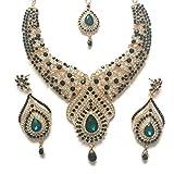 Grün Gold Bollywood Inspiriert Kristall Nieten Kostüm Schmuck Set mit Halskette Ohrringe und Einem Kopf Kette 23