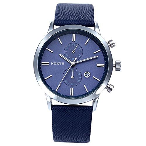 Orologio impermeabile Casual da uomo. FEITONG Moda pelle orologio militare (Blu) - Omega Cinturino In Gomma Blu
