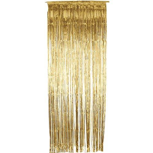 Smiffys Schimmer Vorhang, 91cm x 244cm, Gold, 34122 (Halloween Lametta)
