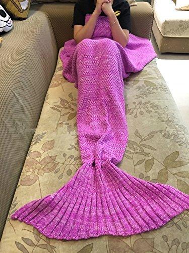 Florally coperta mermaid, coperta fatta a mano, utilizzabile come coperta, a coda a forma di sirena, coperta per divano letto, soggiorno con sirenetta, per adulti e bambini 180 * 90cm