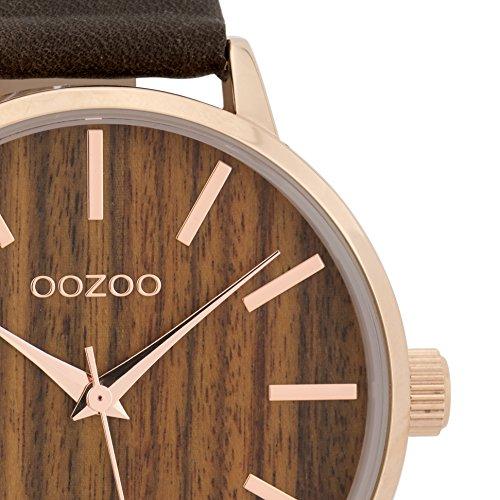 Große Oozoo Damenuhr mit Wood Holz Zifferblatt und Lederband 42 MM