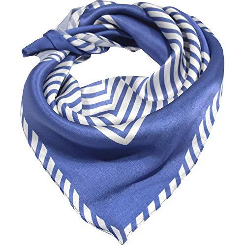 bdfa5fbc4b66a Seidenschal Damen 100% Seiden Schal Quadratisch Halstuch Hautfreundlich Anti -Allergie Tuch L 70   71cm (Gestreift blau) MEHRWEG