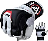 RDX MMA Gloves Sparring Martial Arts Grappling Cowhide Leather Training Cage Fighting Combat Punching Bag Gel Mitts,White/Black, Large