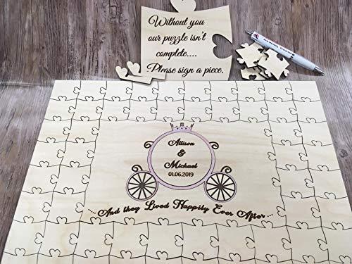 FSSS Ltd Personalisierbar Holz Cinderella Kutsche Hochzeit Gästebuch Puzzle Disney, Birke, 134 Pieces 630x380mm (25