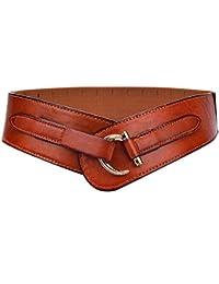 Yhjklm Cinturón Reversible de Cuero para Mujer Estilo Retro de Las Mujeres cinturón de Cintura elástico