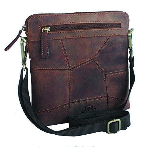 Jenes & Jandura Handgearbeitete hochwertige, handschmeichelnde Leder Tasche Umhängetasche Schultertasche Extra Slim Design Tan