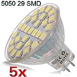 SODIAL(R) 5XMR16 29 LED 5050 SMD 5W 6000K-6500K pura luz blanca de la lampara del proyector del bulbo 220V