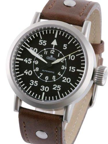 Aristo 3H58A - Reloj para hombres, correa de cuero color marrón