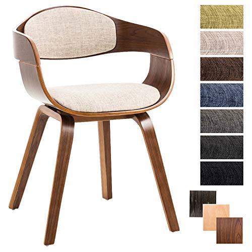 Clp sedia visitatore kingston in tessuto | sedia rétro imbottita con braccioli e 4 gambe | sedia pranzo in legno | sedia conferenza sedia attesa design con schienale crema noce