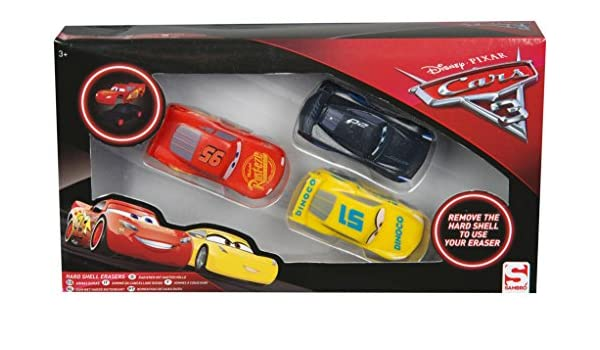 Disney Erasers Rubbers Disney cars 6 Pack  New