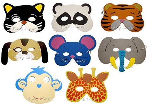 8 Assorted Foam Animal Masks (máscara/careta)