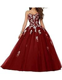 JAEDEN Mujer Vestido de Fiesta Largo Tul Sin Tirantes Vestido de Quinceañera Vestido de Noche