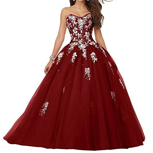 JAEDEN Damen Quinceanera Kleider mit Spitze Abendkleider Lang Hochzeitskleider Elegant Ballkleid Burgund EUR32 Quinceanera Kleid