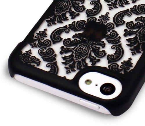 GreatShield TACT Pattern Coque arrière ultra fine en caoutchouc rigide pour iPhone 5c 2013 Motif rét Flora Design (White) Damask Design (Black)