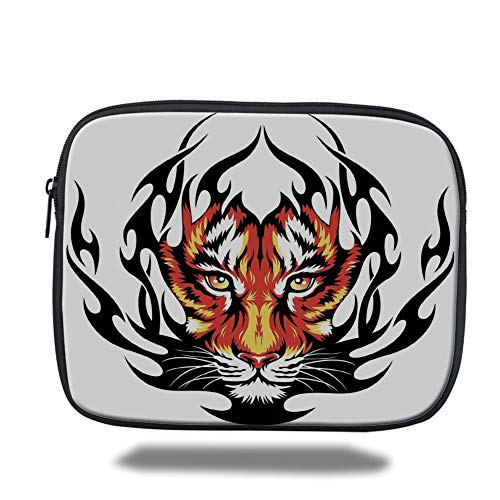 Tablet Bag for Ipad air 2/3/4/mini 9.7 inch,Tattoo Decor,Jungles Prince Tigers Head in Black Flames Frame Looking with Cat Eyes,Black and Orange,3D Print